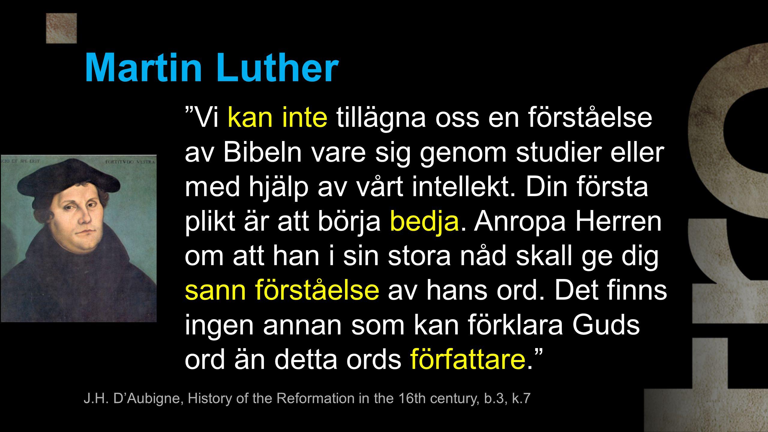Martin Luther Vi kan inte tillägna oss en förståelse av Bibeln vare sig genom studier eller med hjälp av vårt intellekt.