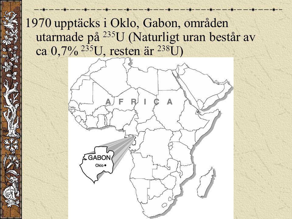 1970 upptäcks i Oklo, Gabon, områden utarmade på 235 U (Naturligt uran består av ca 0,7% 235 U, resten är 238 U)