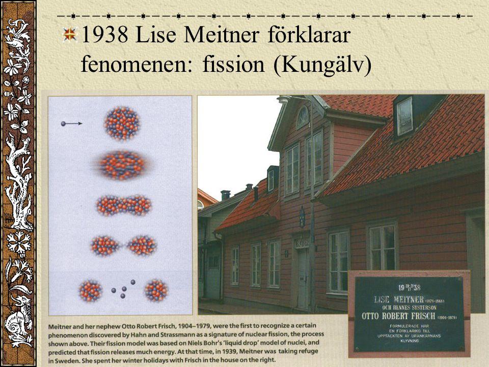 1938 Lise Meitner förklarar fenomenen: fission (Kungälv)