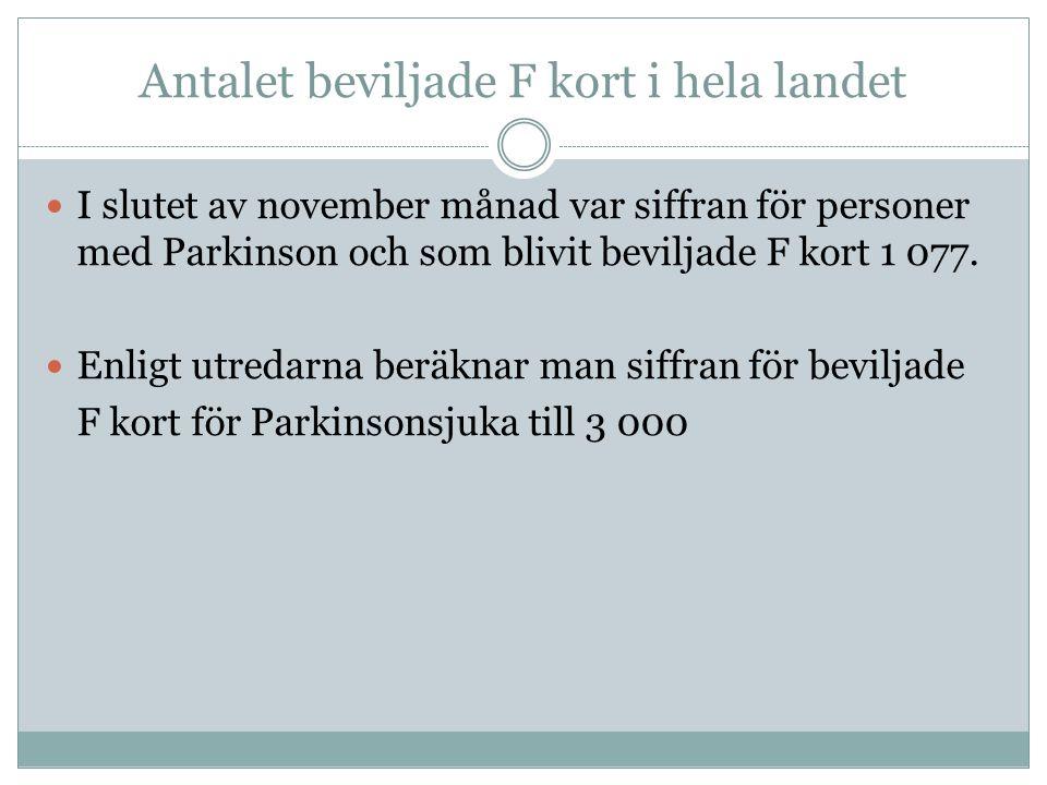 Antalet beviljade F kort i hela landet  I slutet av november månad var siffran för personer med Parkinson och som blivit beviljade F kort 1 077.  En
