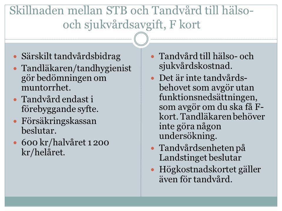Skillnaden mellan STB och Tandvård till hälso- och sjukvårdsavgift, F kort  Särskilt tandvårdsbidrag  Tandläkaren/tandhygienist gör bedömningen om m