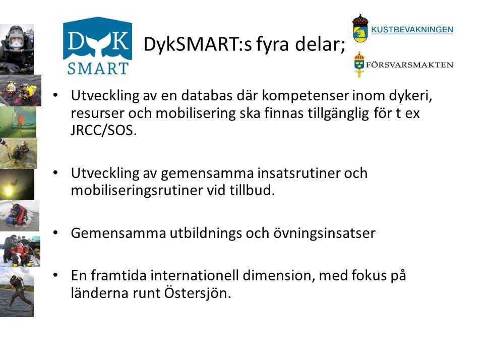 DykSMART:s fyra delar; • Utveckling av en databas där kompetenser inom dykeri, resurser och mobilisering ska finnas tillgänglig för t ex JRCC/SOS. • U