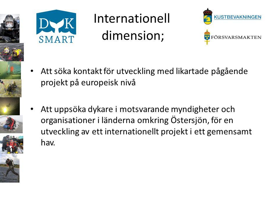Internationell dimension; • Att söka kontakt för utveckling med likartade pågående projekt på europeisk nivå • Att uppsöka dykare i motsvarande myndig