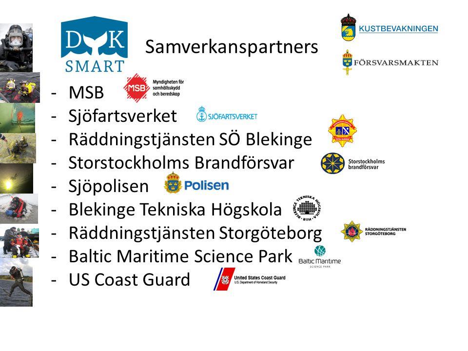 Samverkanspartners -MSB -Sjöfartsverket -Räddningstjänsten SÖ Blekinge -Storstockholms Brandförsvar -Sjöpolisen -Blekinge Tekniska Högskola -Räddnings
