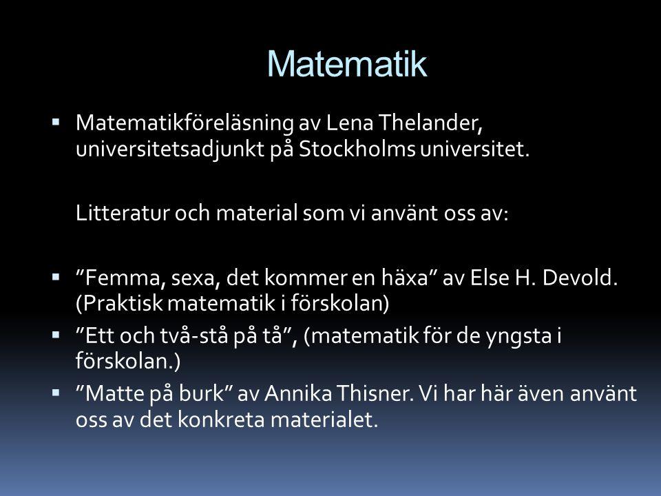 """Matematik  Matematikföreläsning av Lena Thelander, universitetsadjunkt på Stockholms universitet. Litteratur och material som vi använt oss av:  """"Fe"""