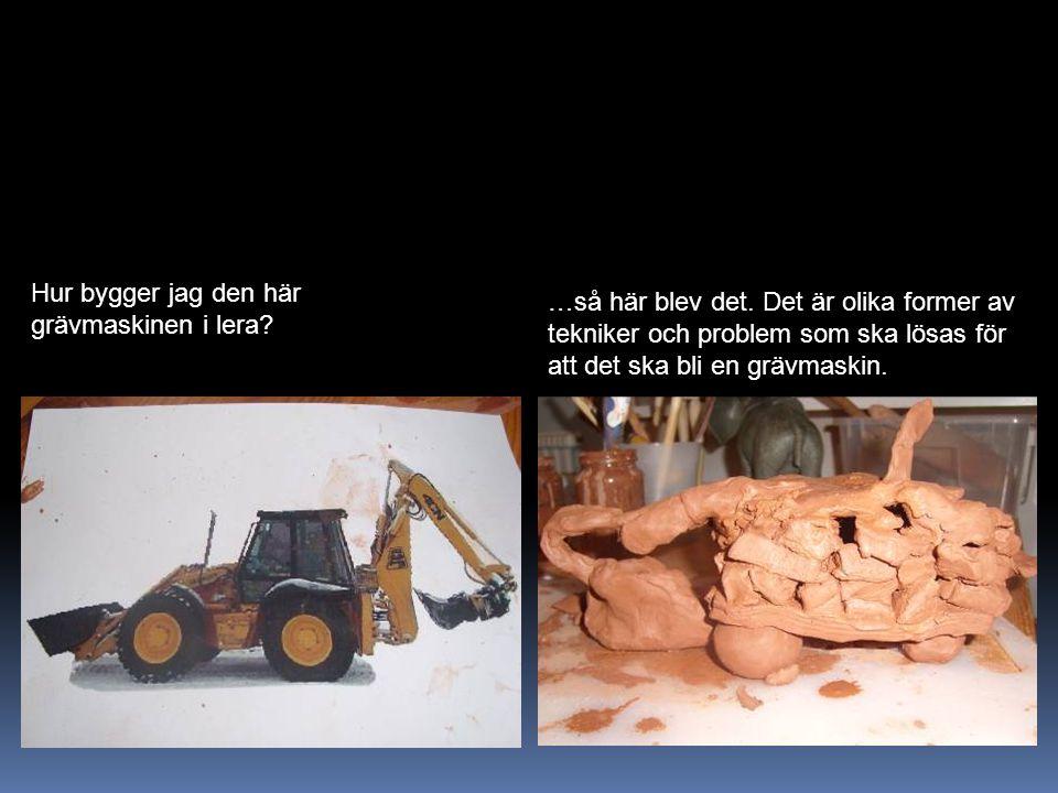 Hur bygger jag den här grävmaskinen i lera? …så här blev det. Det är olika former av tekniker och problem som ska lösas för att det ska bli en grävmas