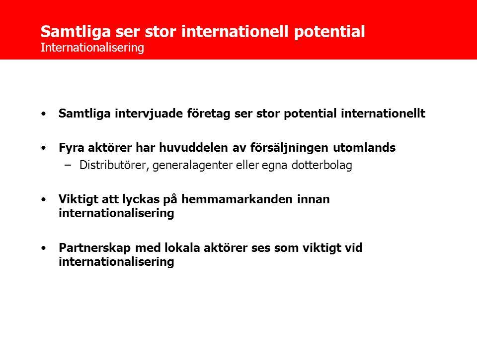 Samtliga ser stor internationell potential Internationalisering •Samtliga intervjuade företag ser stor potential internationellt •Fyra aktörer har huvuddelen av försäljningen utomlands –Distributörer, generalagenter eller egna dotterbolag •Viktigt att lyckas på hemmamarkanden innan internationalisering •Partnerskap med lokala aktörer ses som viktigt vid internationalisering