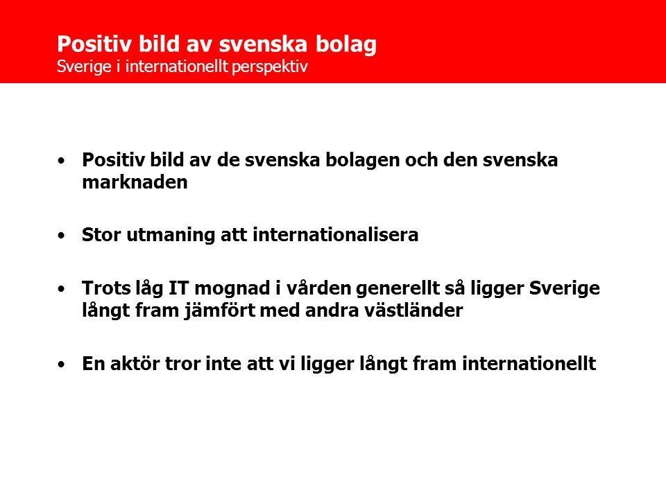 Positiv bild av svenska bolag Sverige i internationellt perspektiv •Positiv bild av de svenska bolagen och den svenska marknaden •Stor utmaning att internationalisera •Trots låg IT mognad i vården generellt så ligger Sverige långt fram jämfört med andra västländer •En aktör tror inte att vi ligger långt fram internationellt