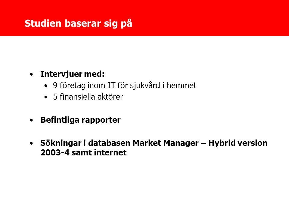 Studien baserar sig på •Intervjuer med: •9 företag inom IT för sjukvård i hemmet •5 finansiella aktörer •Befintliga rapporter •Sökningar i databasen Market Manager – Hybrid version 2003-4 samt internet