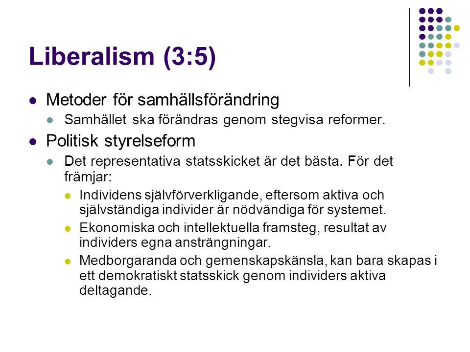 Liberalism (3:5)  Metoder för samhällsförändring  Samhället ska förändras genom stegvisa reformer.  Politisk styrelseform  Det representativa stat