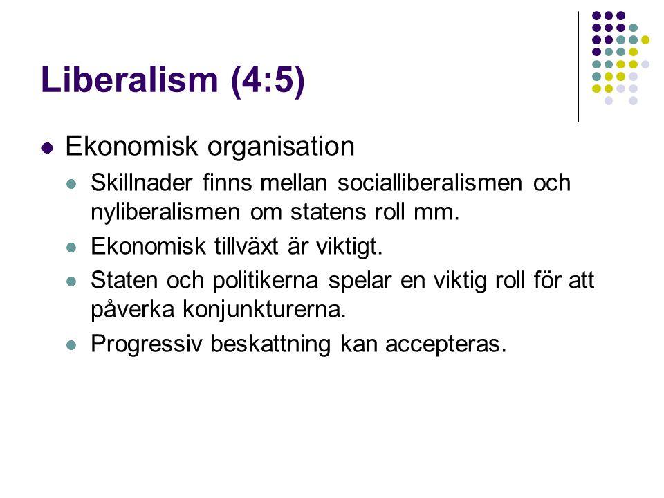 Liberalism (4:5)  Ekonomisk organisation  Skillnader finns mellan socialliberalismen och nyliberalismen om statens roll mm.  Ekonomisk tillväxt är