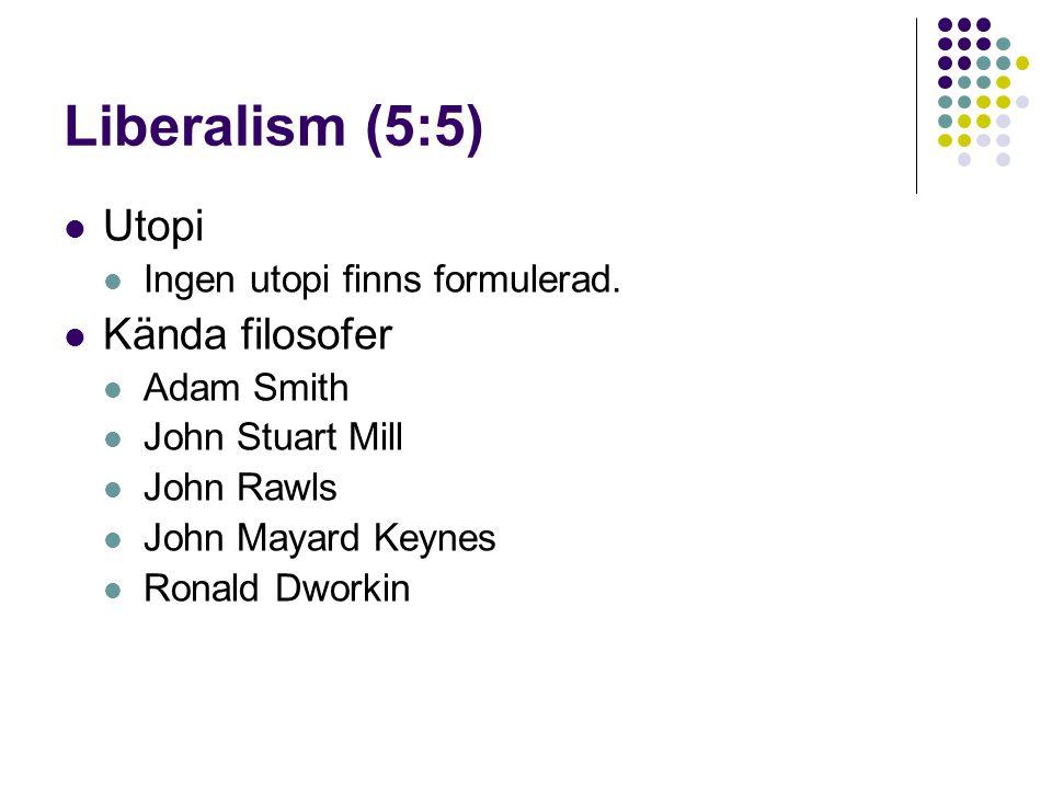 Liberalism (5:5)  Utopi  Ingen utopi finns formulerad.  Kända filosofer  Adam Smith  John Stuart Mill  John Rawls  John Mayard Keynes  Ronald
