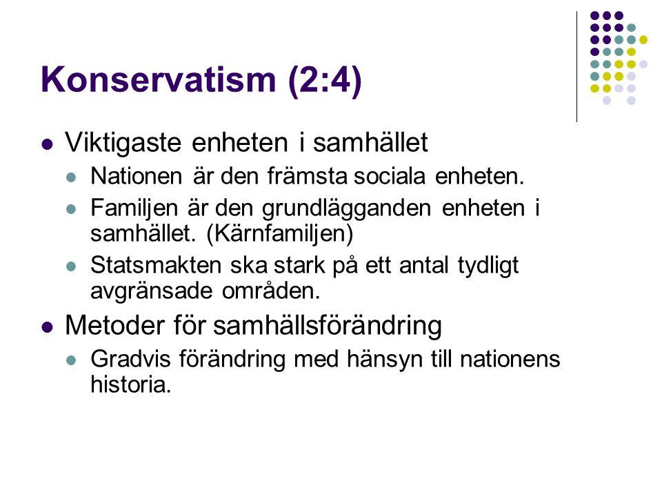 Konservatism (2:4)  Viktigaste enheten i samhället  Nationen är den främsta sociala enheten.  Familjen är den grundlägganden enheten i samhället. (