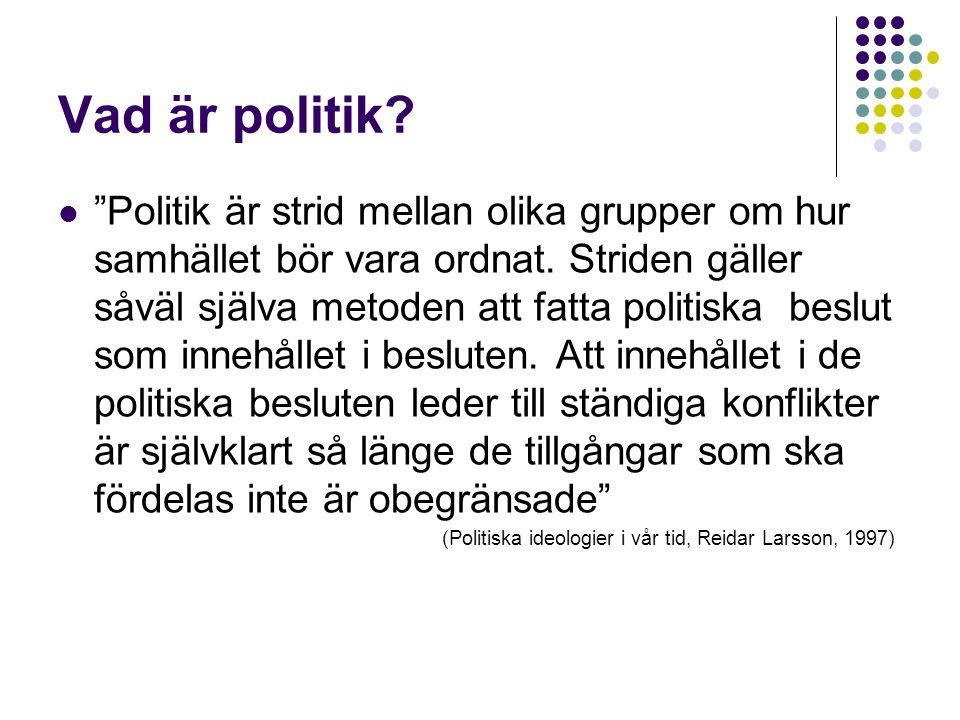 """Vad är politik?  """"Politik är strid mellan olika grupper om hur samhället bör vara ordnat. Striden gäller såväl själva metoden att fatta politiska bes"""
