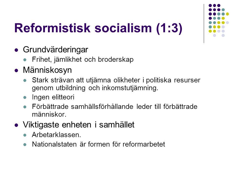 Reformistisk socialism (1:3)  Grundvärderingar  Frihet, jämlikhet och broderskap  Människosyn  Stark strävan att utjämna olikheter i politiska res