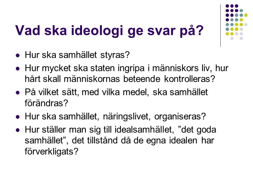 Vad ska ideologi ge svar på?  Hur ska samhället styras?  Hur mycket ska staten ingripa i människors liv, hur hårt skall människornas beteende kontro