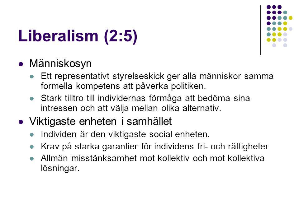 Liberalism (2:5)  Människosyn  Ett representativt styrelseskick ger alla människor samma formella kompetens att påverka politiken.  Stark tilltro t
