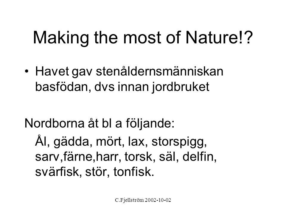 C.Fjellström 2002-10-02 Making the most of Nature!? •Havet gav stenåldernsmänniskan basfödan, dvs innan jordbruket Nordborna åt bl a följande: Ål, gäd