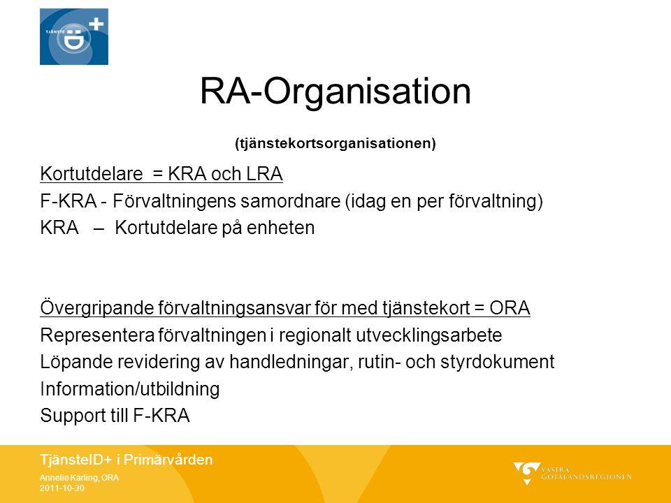 TjänsteID+ i Primärvården Annelie Karling, ORA 2011-10-30 RA-Organisation (tjänstekortsorganisationen) Kortutdelare = KRA och LRA F-KRA - Förvaltninge