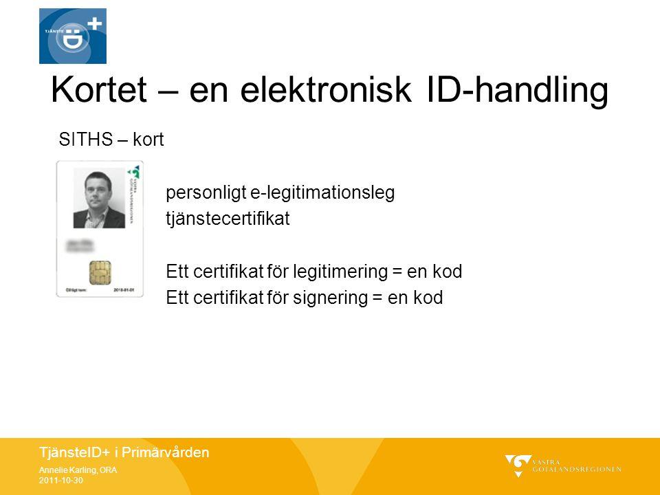 TjänsteID+ i Primärvården Annelie Karling, ORA 2011-10-30 Kortet – en elektronisk ID-handling SITHS – kort personligt e-legitimationsleg tjänstecertif