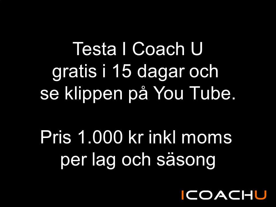Testa I Coach U gratis i 15 dagar och se klippen på You Tube. Pris 1.000 kr inkl moms per lag och säsong