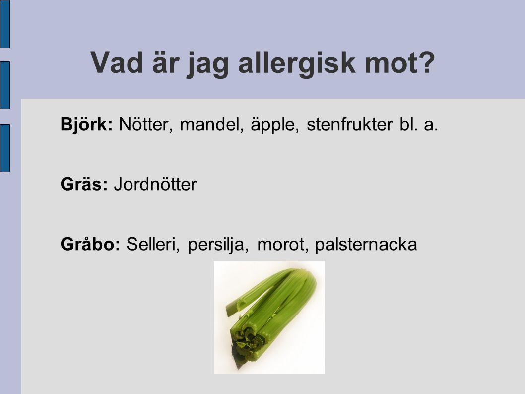 Vad är jag allergisk mot? Björk: Nötter, mandel, äpple, stenfrukter bl. a. Gräs: Jordnötter Gråbo: Selleri, persilja, morot, palsternacka