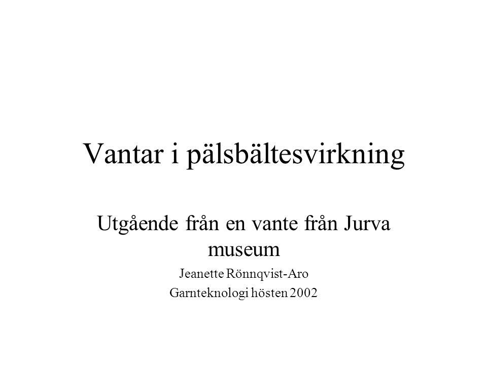 Vantar i pälsbältesvirkning Utgående från en vante från Jurva museum Jeanette Rönnqvist-Aro Garnteknologi hösten 2002