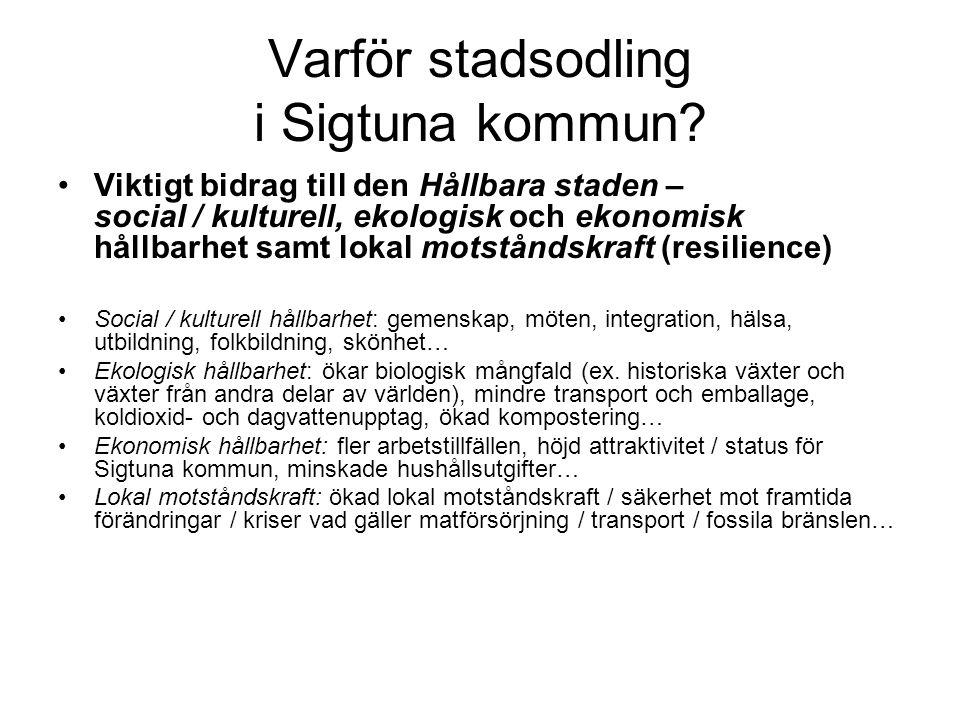 Varför stadsodling i Sigtuna kommun.