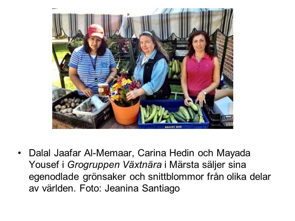 •Dalal Jaafar Al-Memaar, Carina Hedin och Mayada Yousef i Grogruppen Växtnära i Märsta säljer sina egenodlade grönsaker och snittblommor från olika delar av världen.