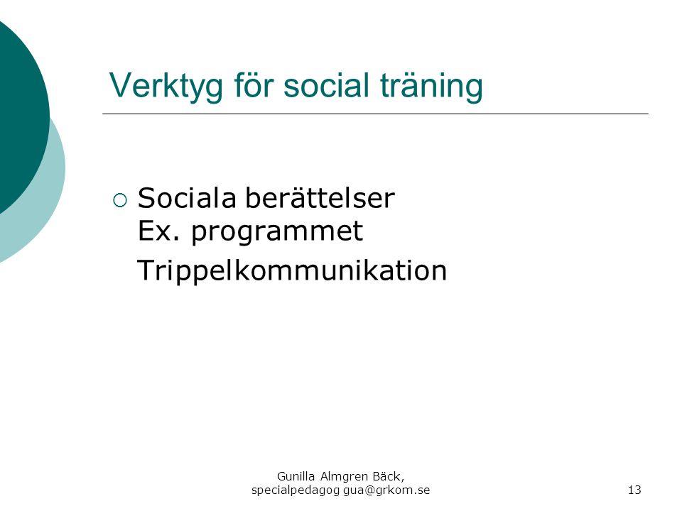 Verktyg för social träning  Sociala berättelser Ex. programmet Trippelkommunikation Gunilla Almgren Bäck, specialpedagog gua@grkom.se13