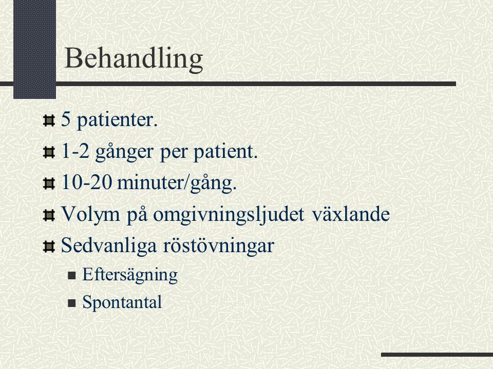 Behandling 5 patienter. 1-2 gånger per patient. 10-20 minuter/gång. Volym på omgivningsljudet växlande Sedvanliga röstövningar  Eftersägning  Sponta