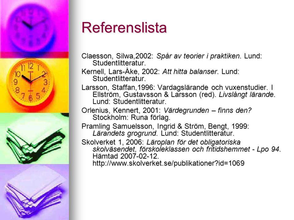 Referenslista Claesson, Silwa,2002: Spår av teorier i praktiken. Lund: Studentlitteratur. Kernell, Lars-Åke, 2002: Att hitta balanser. Lund: Studentli