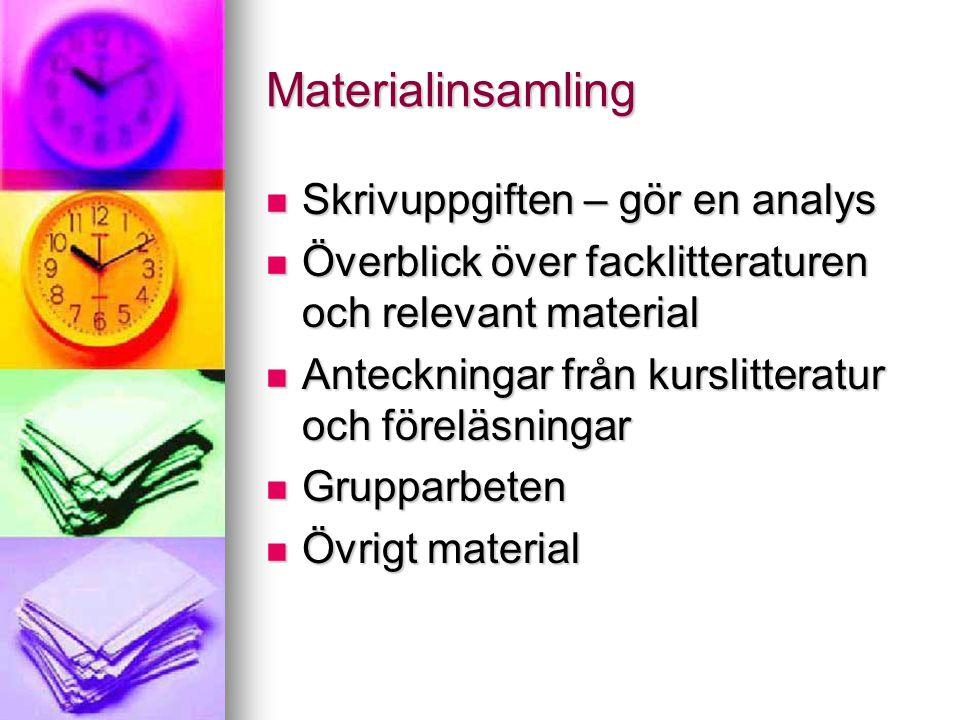 Materialinsamling  Skrivuppgiften – gör en analys  Överblick över facklitteraturen och relevant material  Anteckningar från kurslitteratur och före