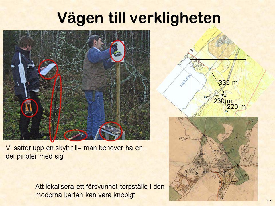 Vägen till verkligheten 11 Vi sätter upp en skylt till– man behöver ha en del pinaler med sig 335 m 230 m 220 m Att lokalisera ett försvunnet torpstäl
