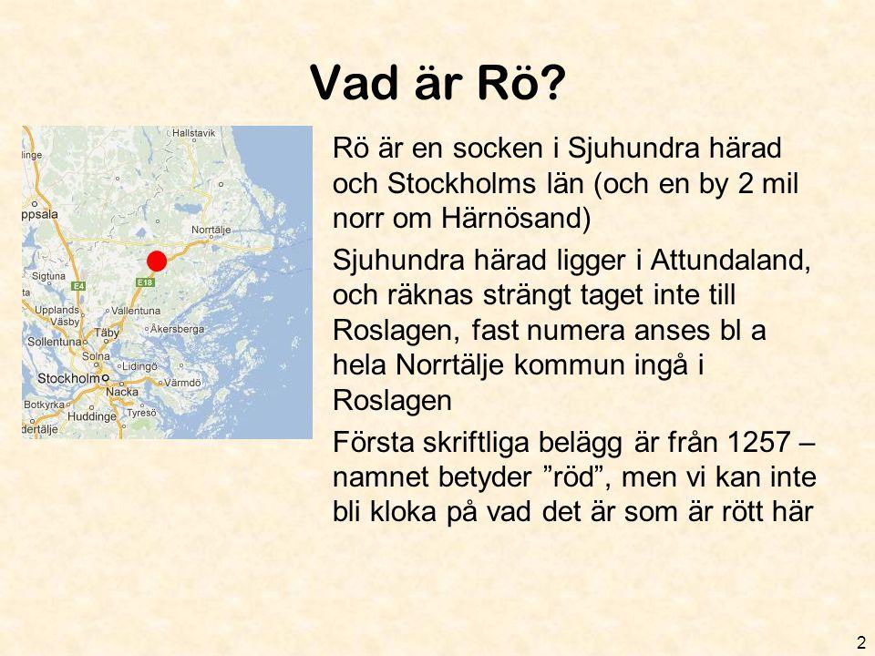 Vad är Rö.•42 km 2 landsbygd •E18 och länsväg 280 (till Rimbo) är de stora vägarna.