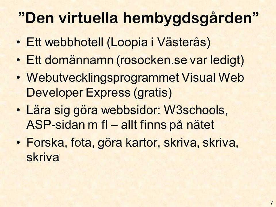 """""""Den virtuella hembygdsgården"""" 7 •Ett webbhotell (Loopia i Västerås) •Ett domännamn (rosocken.se var ledigt) •Webutvecklingsprogrammet Visual Web Deve"""
