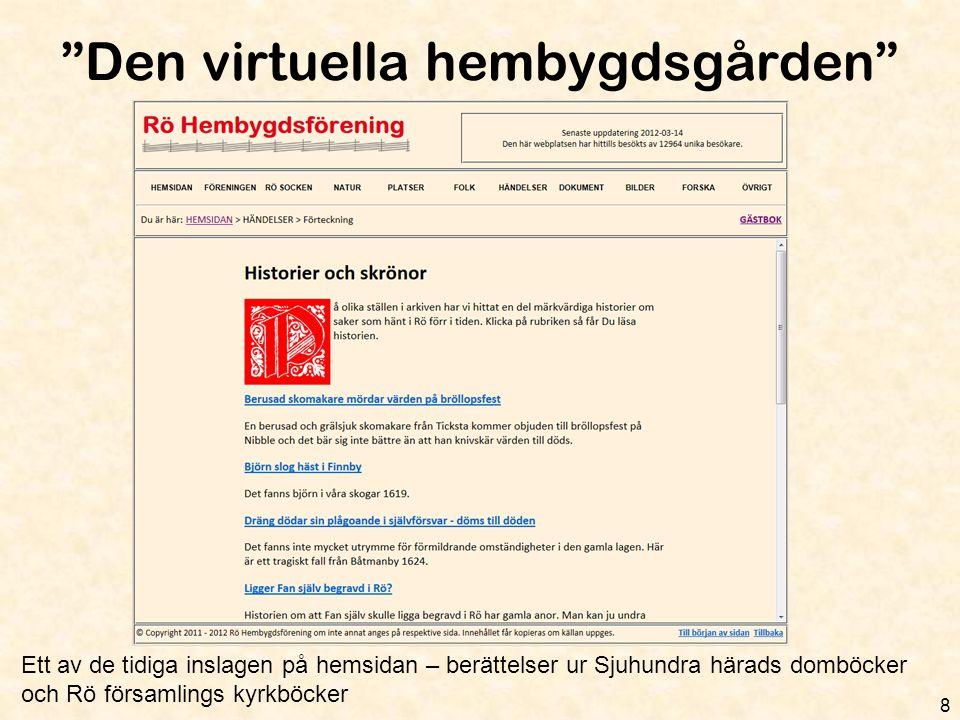 """""""Den virtuella hembygdsgården"""" 8 Ett av de tidiga inslagen på hemsidan – berättelser ur Sjuhundra härads domböcker och Rö församlings kyrkböcker"""