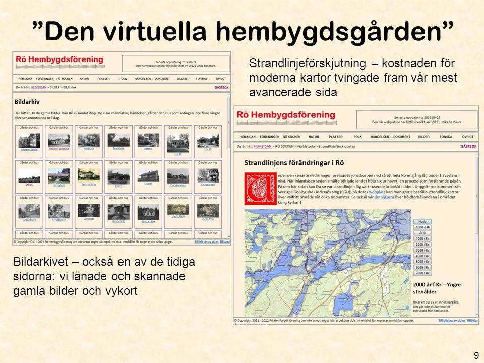 """""""Den virtuella hembygdsgården"""" 9 Bildarkivet – också en av de tidiga sidorna: vi lånade och skannade gamla bilder och vykort Strandlinjeförskjutning –"""