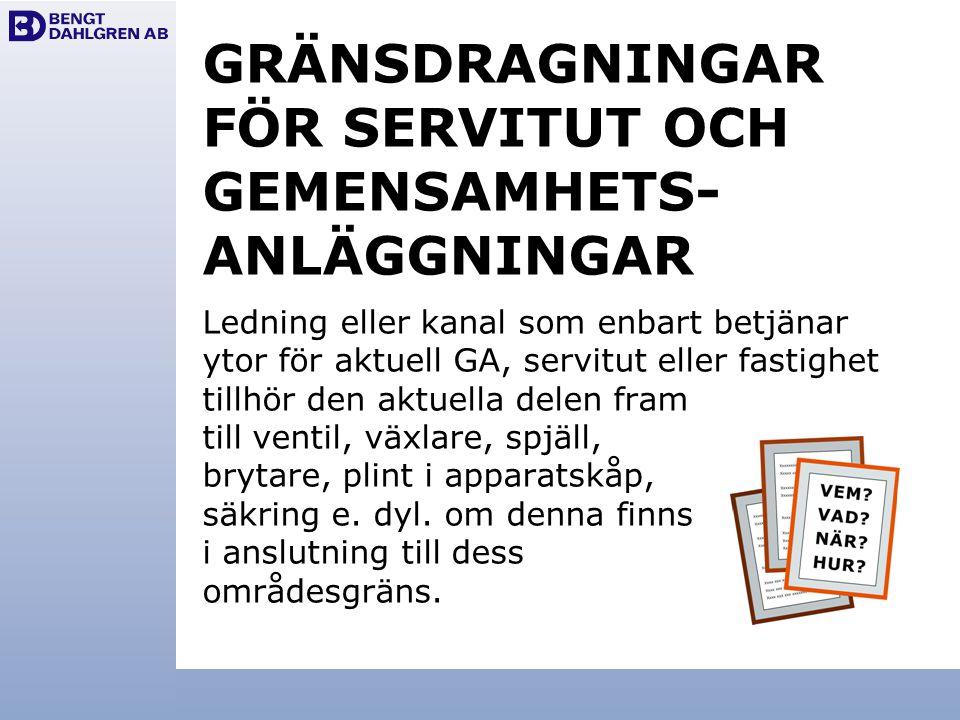 GRÄNSDRAGNINGAR FÖR SERVITUT OCH GEMENSAMHETS- ANLÄGGNINGAR Ledning eller kanal som enbart betjänar ytor för aktuell GA, servitut eller fastighet till