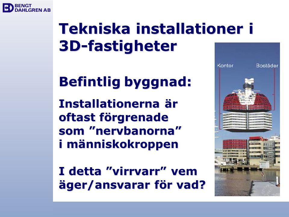 """Tekniska installationer i 3D-fastigheter Befintlig byggnad: Installationerna är oftast förgrenade som """"nervbanorna"""" i människokroppen I detta """"virrvar"""
