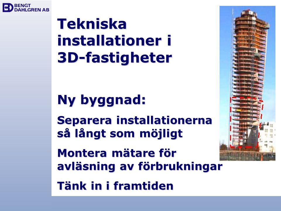 Tekniska installationer i 3D-fastigheter Ny byggnad: Separera installationerna så långt som möjligt Montera mätare för avläsning av förbrukningar Tänk