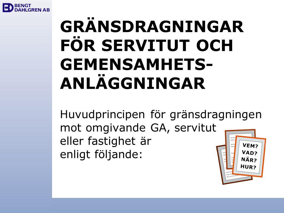 GRÄNSDRAGNINGAR FÖR SERVITUT OCH GEMENSAMHETS- ANLÄGGNINGAR Huvudprincipen för gränsdragningen mot omgivande GA, servitut eller fastighet är enligt fö