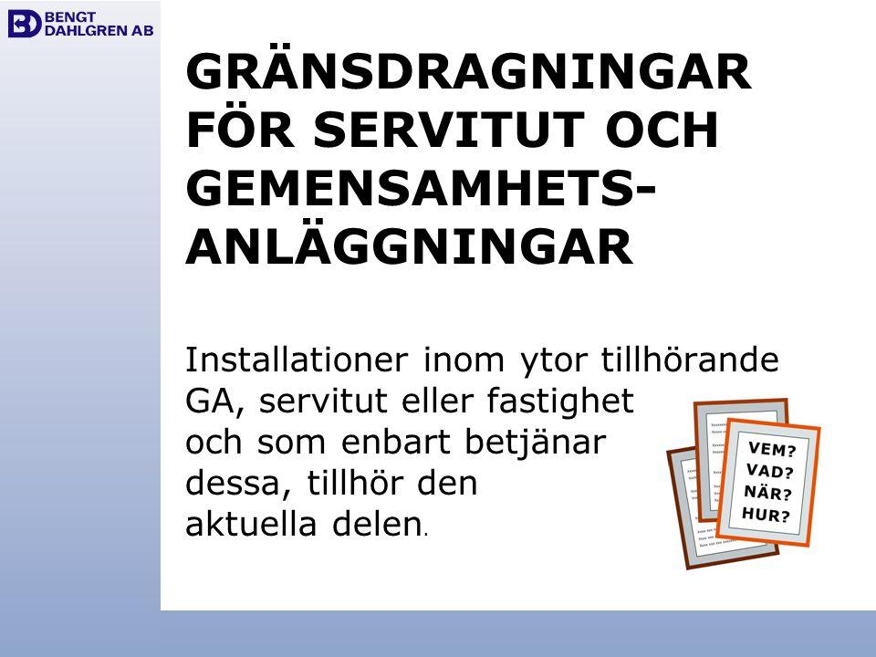 GRÄNSDRAGNINGAR FÖR SERVITUT OCH GEMENSAMHETS- ANLÄGGNINGAR Installationer inom ytor tillhörande GA, servitut eller fastighet och som enbart betjänar
