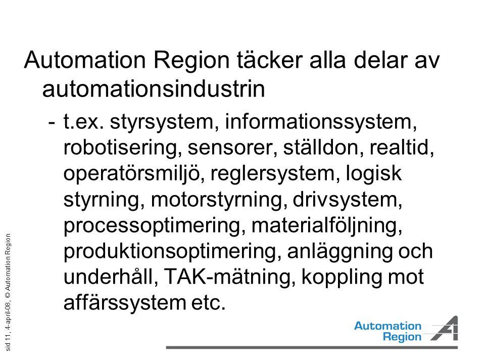 sid 11, 4-april-08, © Automation Region Automation Region täcker alla delar av automationsindustrin  t.ex. styrsystem, informationssystem, robotiseri