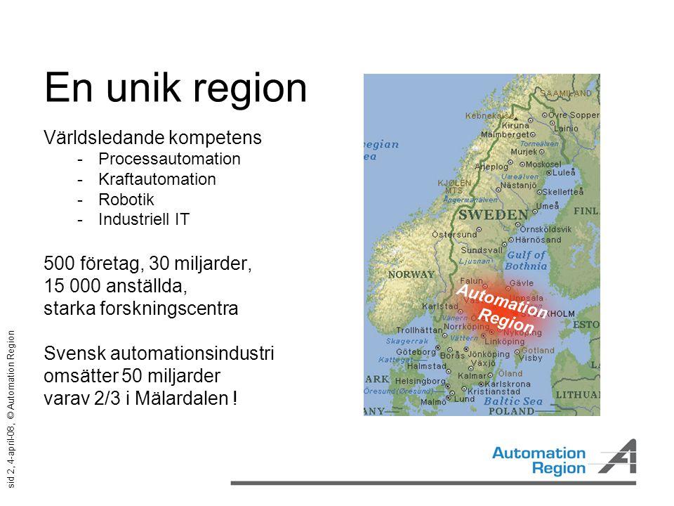 sid 2, 4-april-08, © Automation Region En unik region Världsledande kompetens  Processautomation  Kraftautomation  Robotik  Industriell IT 500 för