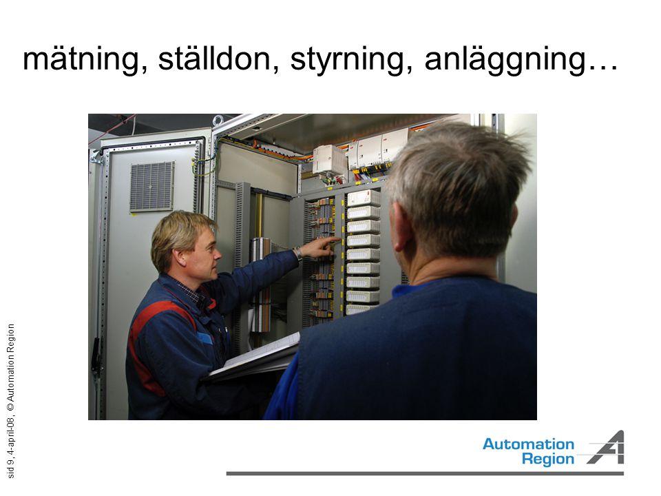sid 9, 4-april-08, © Automation Region mätning, ställdon, styrning, anläggning…