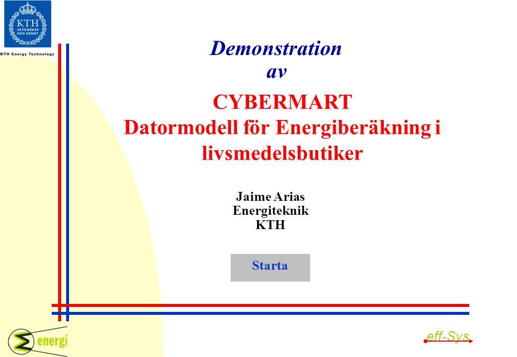 CYBERMART Datormodell för Energiberäkning i livsmedelsbutiker Jaime Arias Energiteknik KTH Demonstration av Starta eff-Sys