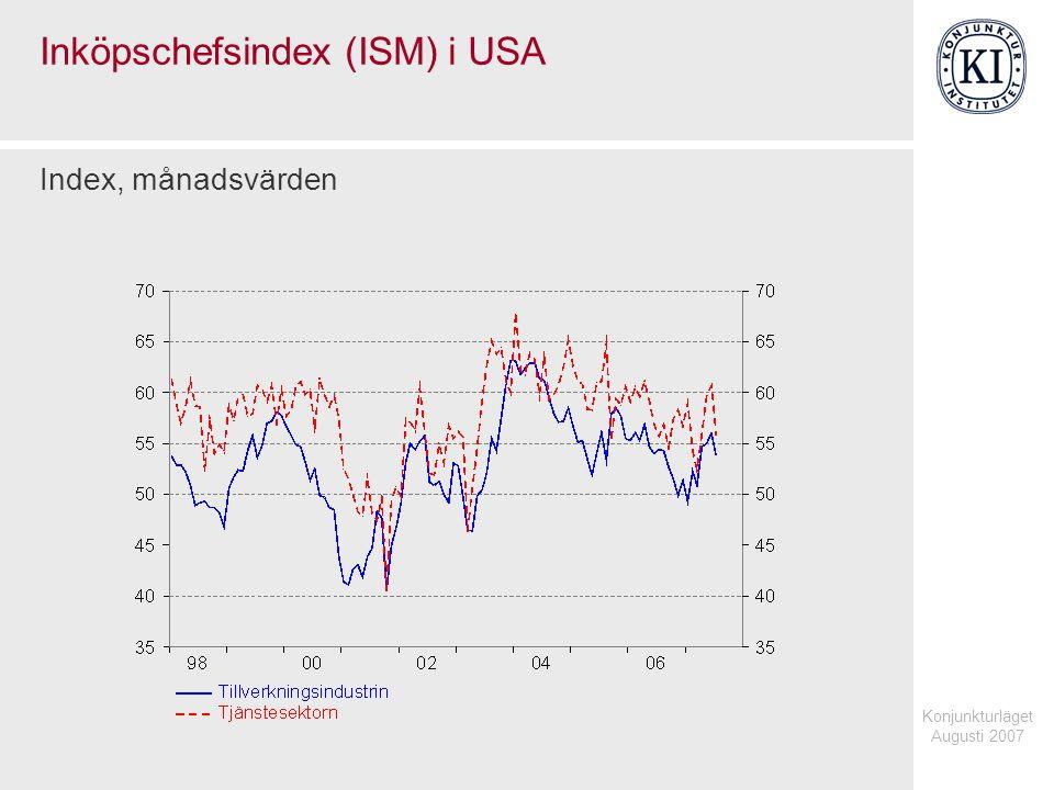 Konjunkturläget Augusti 2007 Inköpschefsindex (ISM) i USA Index, månadsvärden
