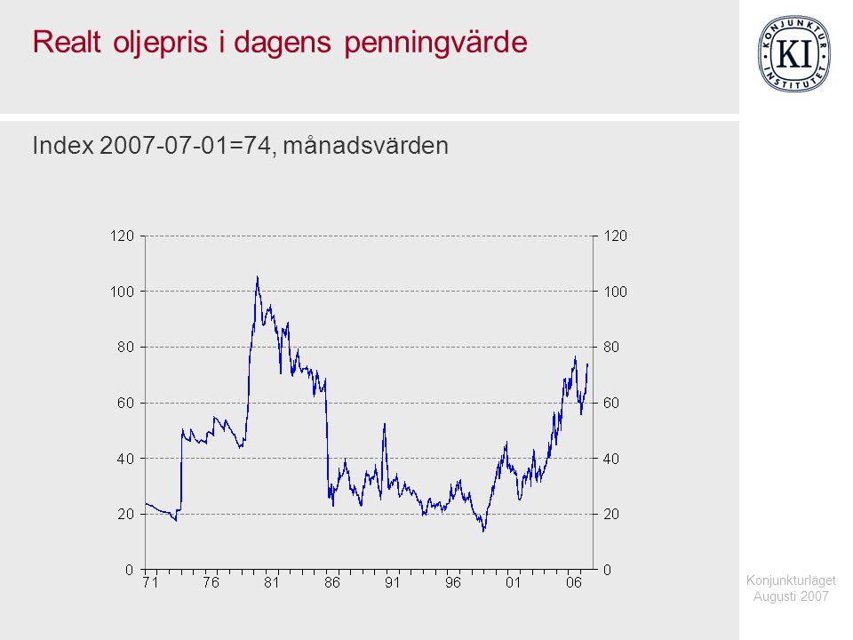 Konjunkturläget Augusti 2007 Huspriser och styrränta i Storbritannien Årlig procentuell förändring respektive procent, månadsvärden