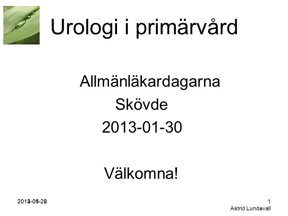 2013-01-262014-06-221 Astrid Lundevall Urologi i primärvård Allmänläkardagarna Skövde 2013-01-30 Välkomna!